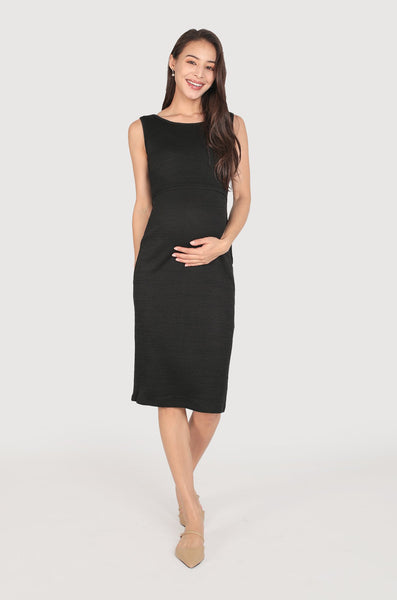 Neily Knotted Back Nursing Dress In Black