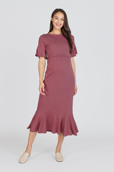Jade Flutter Sleeves Nursing Dress In Maroon