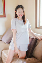 Finley Relaxed Fit Lounge Tee In Cool Grey Nursing Wear Jump Eat Cry