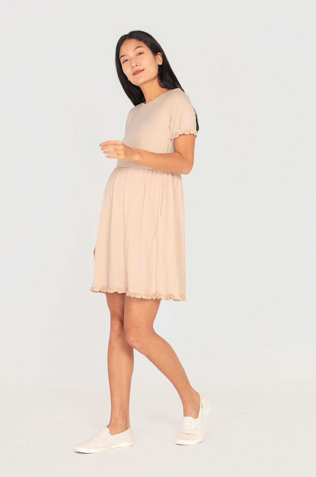 Paterina Frills Nursing Dress In Cream Nursing Wear Jump Eat Cry
