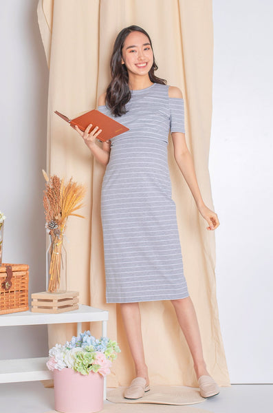 Raelyn Striped Cold Shoulder Nursing Dress In Grey