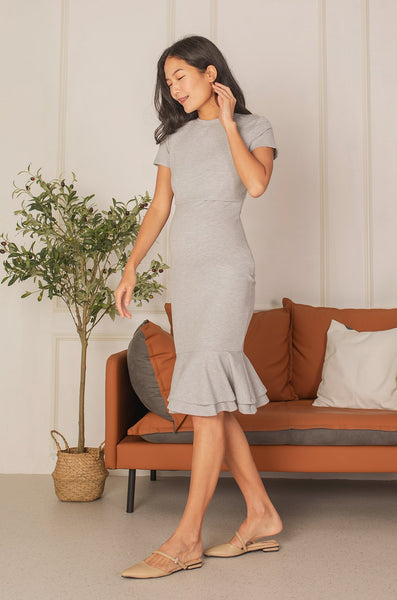 Mermaid Hem Bodycon Nursing Dress in Grey