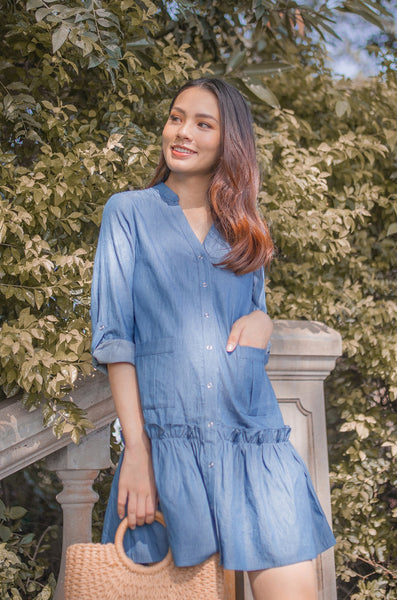 Hera Denim Nursing Dress In Denim Blue