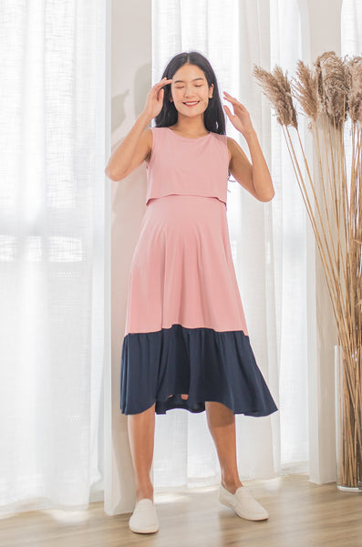 Cher Contrasted Midi Nursing Dress In Pink