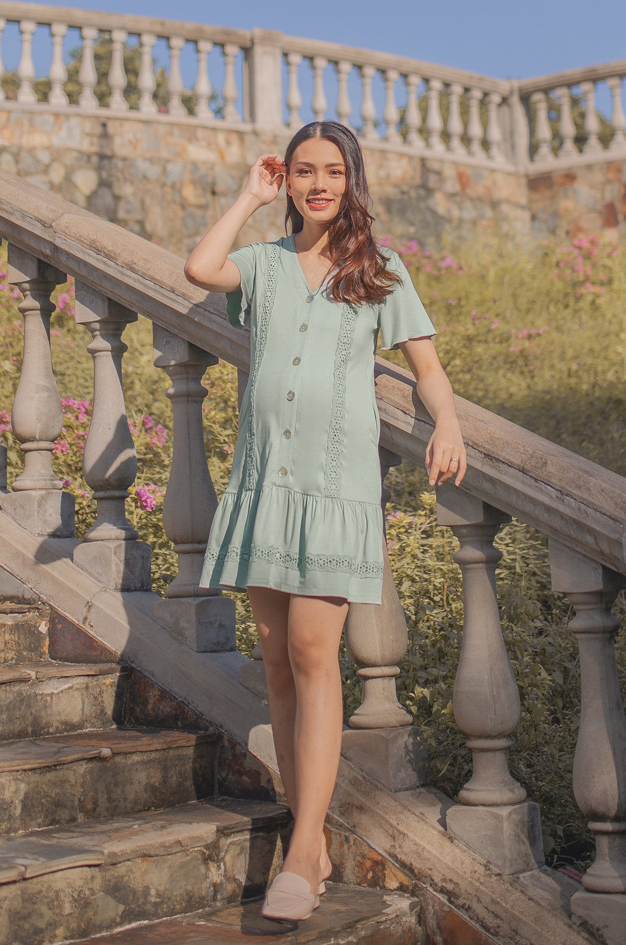 Ray Eyelet Trimming Nursing Dress In Sage Green Nursing Wear Jump Eat Cry