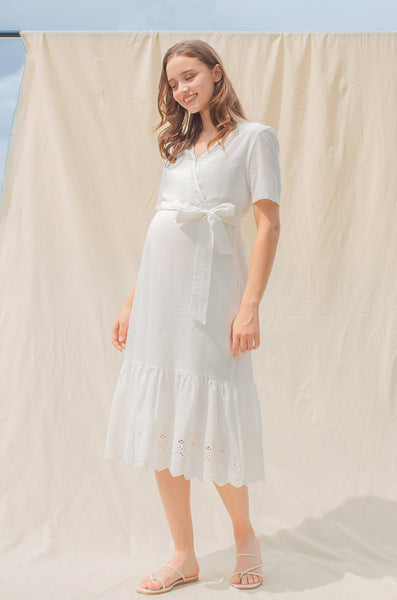 Siena Eyelet Panel Nursing Dress
