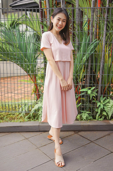 Quinnie Lounge Nursing Dress In Dusty Pink