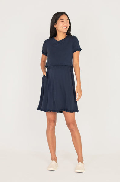 Paterina Frills Nursing Dress In Navy