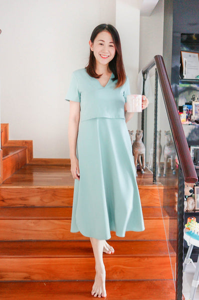 Quinnie Lounge Nursing Dress In Seafoam Blue