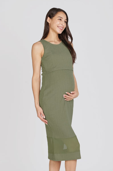 Reya Two Layer Bodycon Nursing Dress In Pistacchio