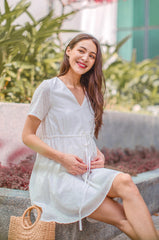 Lyla Drawstring Eyelet Nursing Dress Nursing Wear Jump Eat Cry
