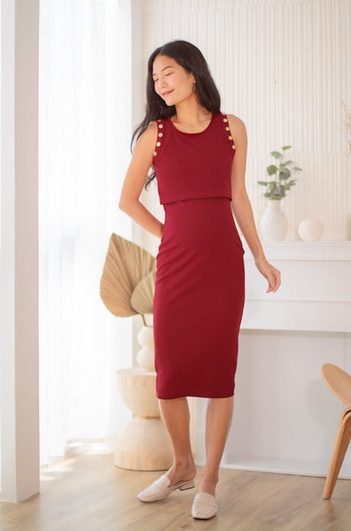 Caden Button Nursing Dress In Maroon