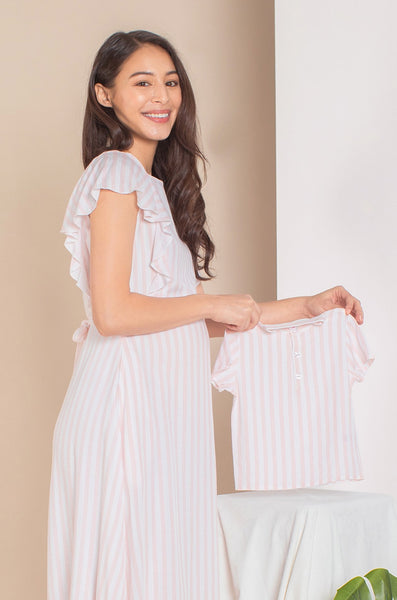 Alora Buttoned Boy Top In Pink Stripes