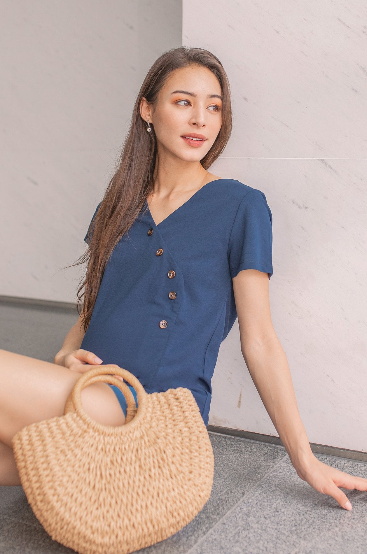Kaia Side Buttoned Nursing Top In Navy Nursing Wear Jump Eat Cry