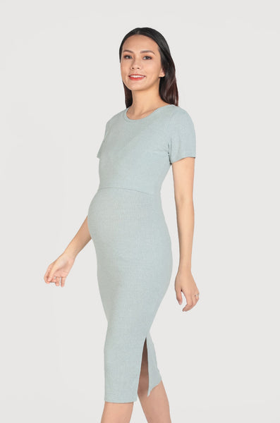 Janet Wide Neck Nursing Dress In Mint Blue