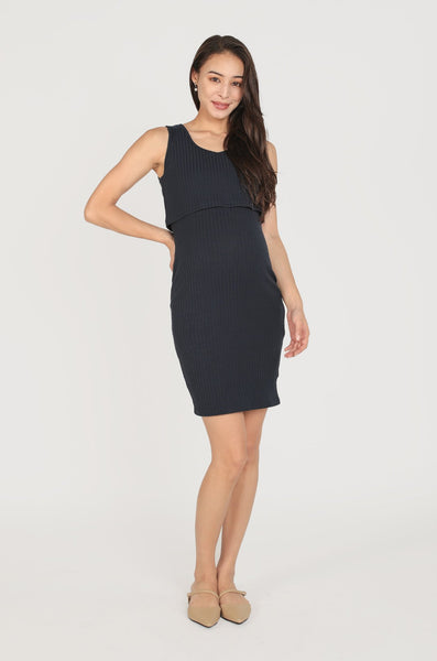 Willow Knit Tank Nursing Dress In Navy
