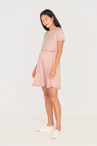 Paterina Frills Nursing Dress In Pink