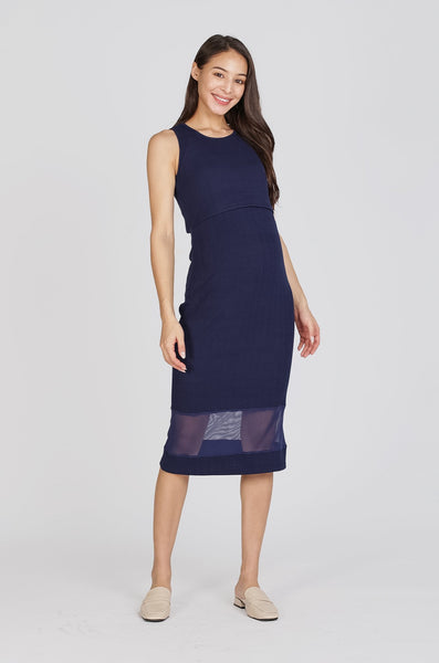 Reya Two Layer Bodycon Nursing Dress In Navy