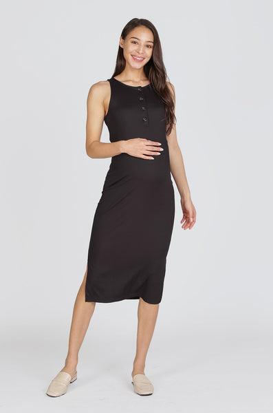 Zoya Knitted Knot Nursing Dress In Black