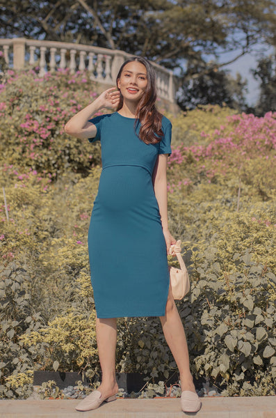 Janet Wide Neck Nursing Dress In Teal