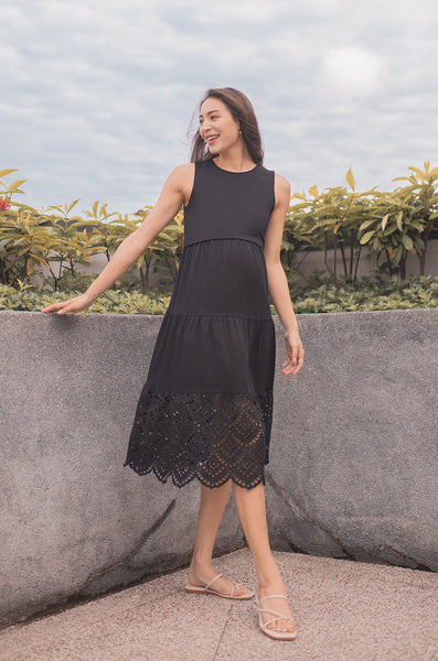 Madison Eyelet Hem Nursing Dress In Black