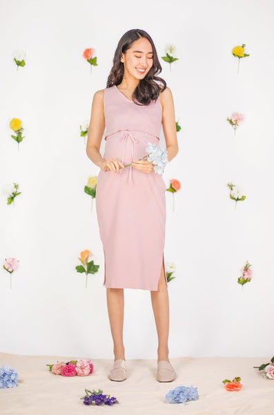 Kalani Drawstring Nursing Dress In Light Pink