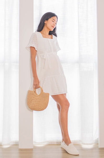 Evie Flutter Eyelet Nursing Dress