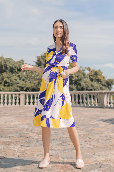 Zina Abstract Lemon Printed Nursing Dress