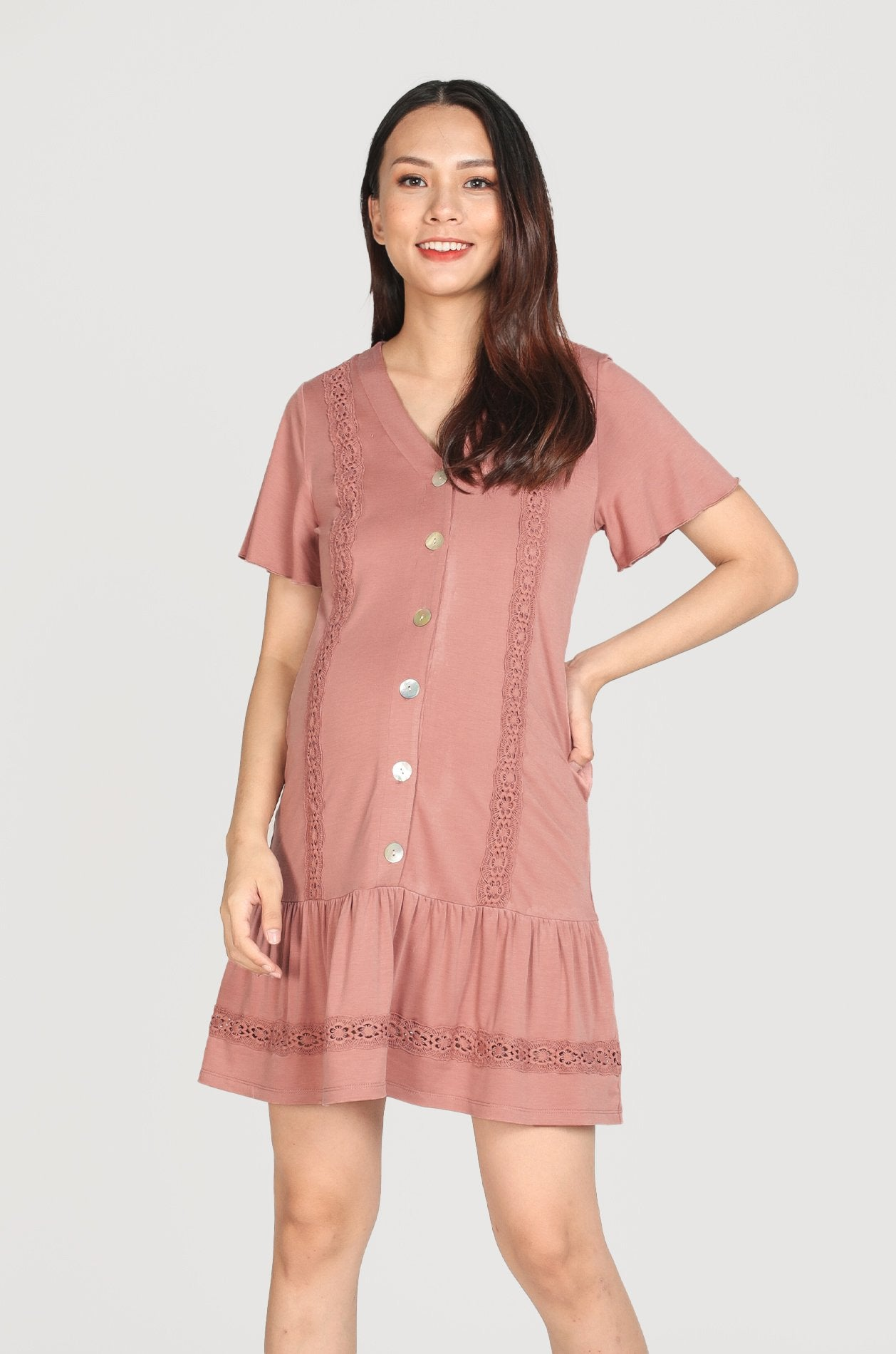 Ray Eyelet Trimming Nursing Dress In Mauve Pink Nursing Wear Jump Eat Cry