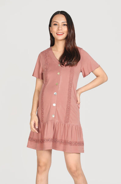 Ray Eyelet Trimming Nursing Dress In Mauve Pink