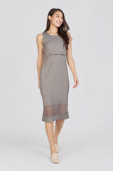 Reya Two Layer Bodycon Nursing Dress In Grey Nursing Wear Jump Eat Cry