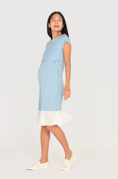 Karla Pleated Nursing Dress In Sky Blue