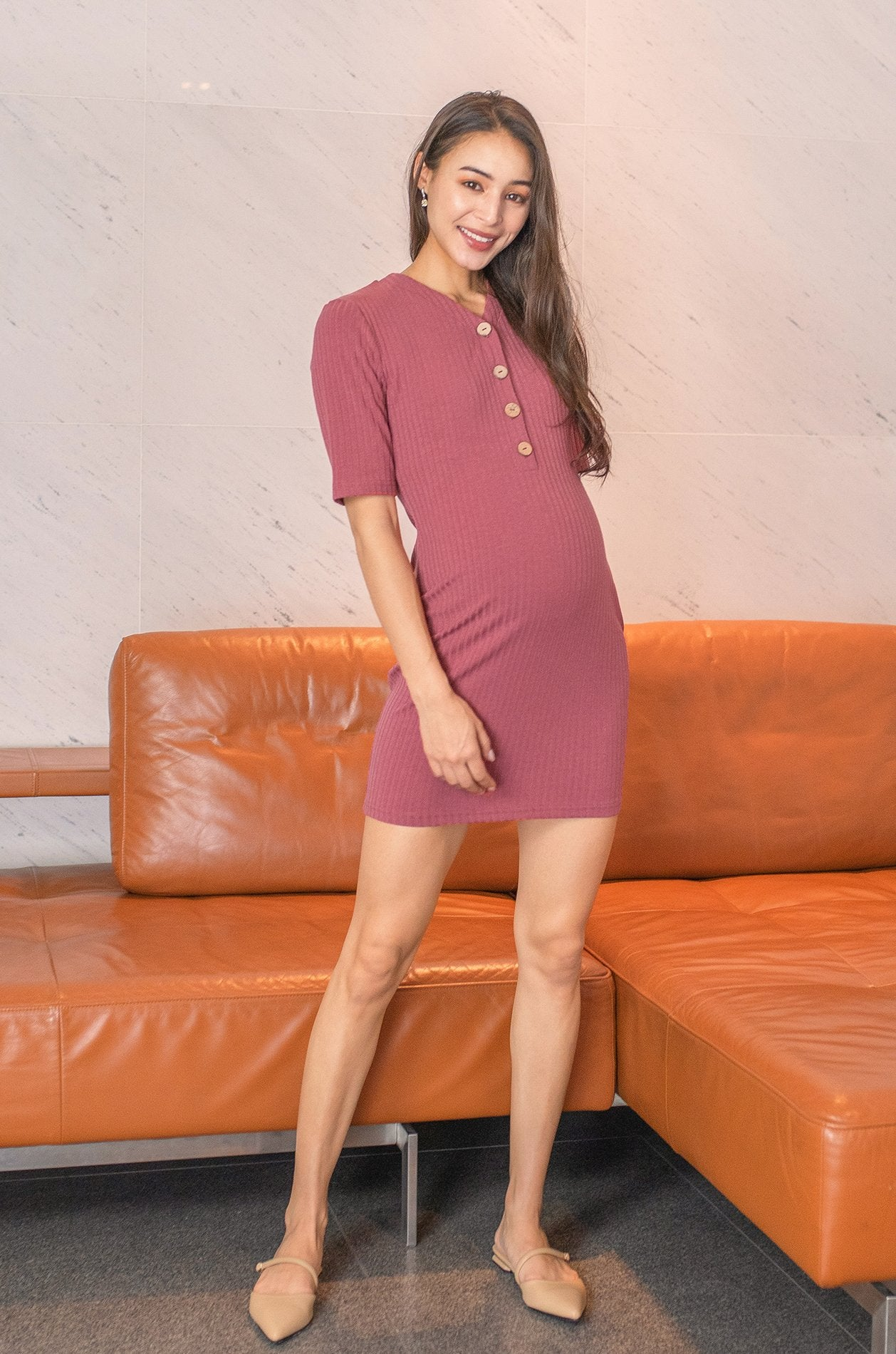 Becky Buttoned Knit Nursing Dress In Rose Pink Nursing Wear Jump Eat Cry