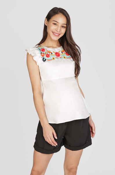 Leya Embroidered Nursing Top
