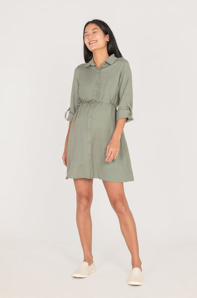Cory Button Down Nursing Dress In Sage