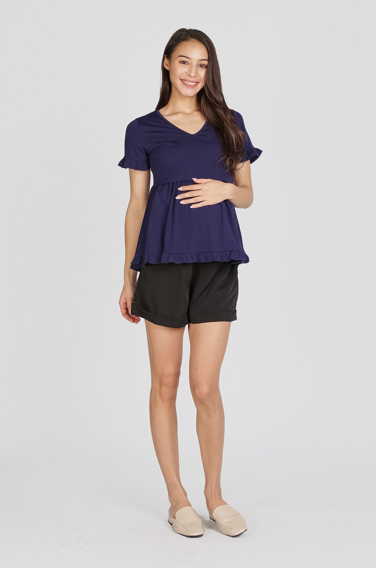 Reika Maternity Shorts In Black Nursing Wear Jump Eat Cry