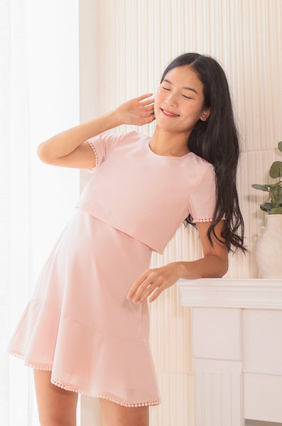 Merinda Pompom Nursing Dress In Pink