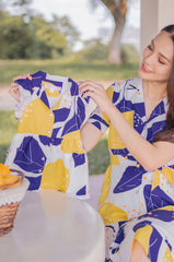 Zina Abstract Lemon Printed Girl Dress Matching Sets Jump Eat Cry