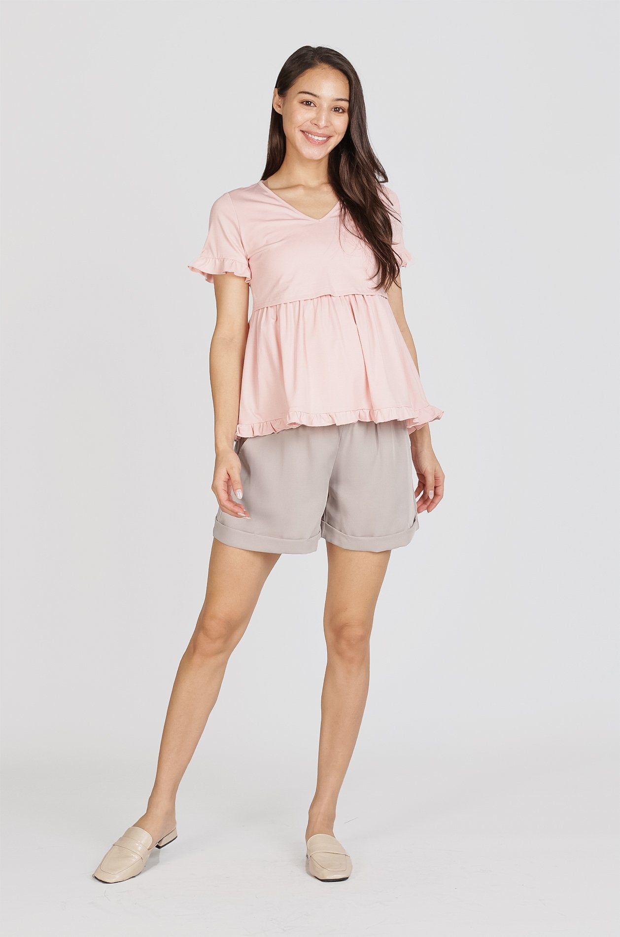 Reika Maternity Shorts In Grey Nursing Wear Jump Eat Cry