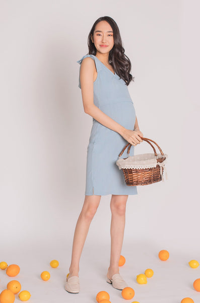 Peyton Ribbon Nursing Dress In Dusty Blue