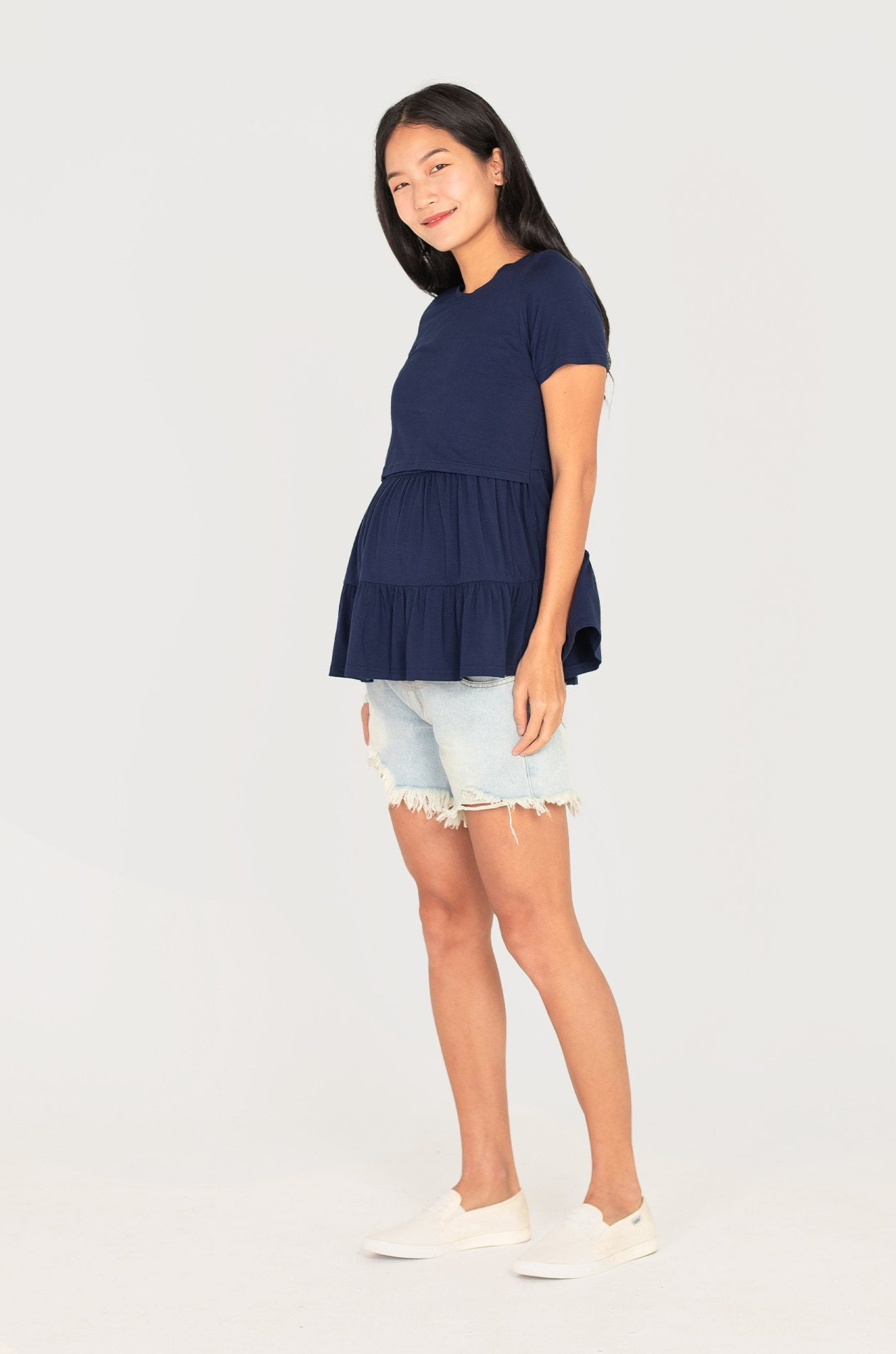 Mira Tiered Nursing Top In Navy Nursing Wear Jump Eat Cry