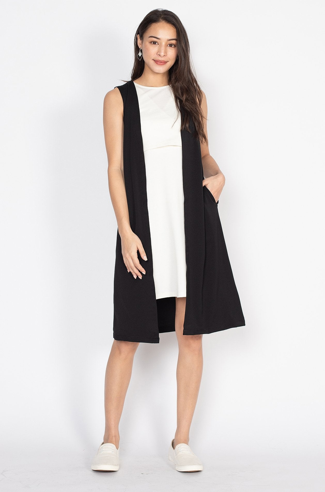 Aiden Vest Nursing Dress  by Jump Eat Cry - Maternity and nursing wear