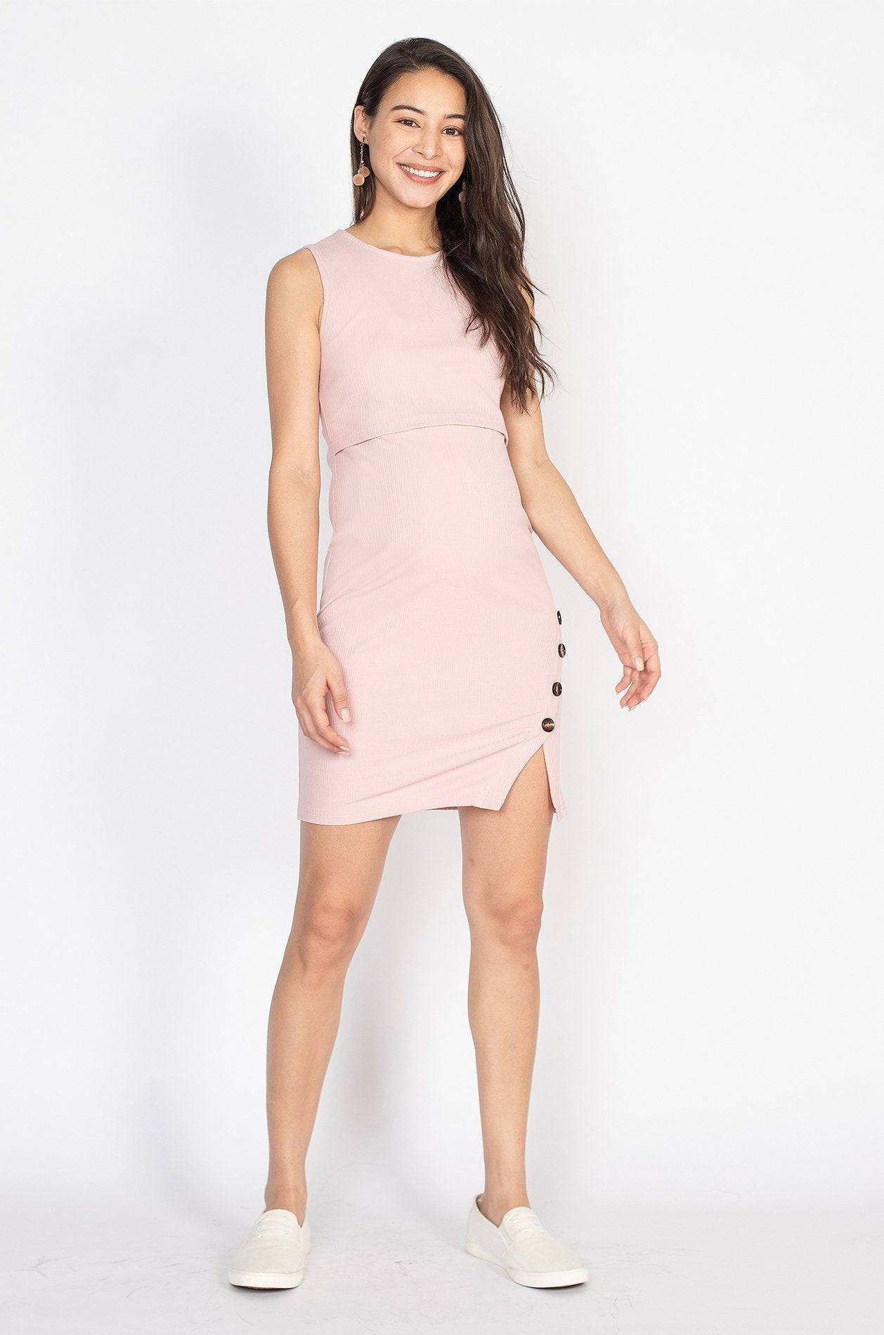 Alicia Side Button Body Con Nursing Dress in Light Pink  by Jump Eat Cry - Maternity and nursing wear