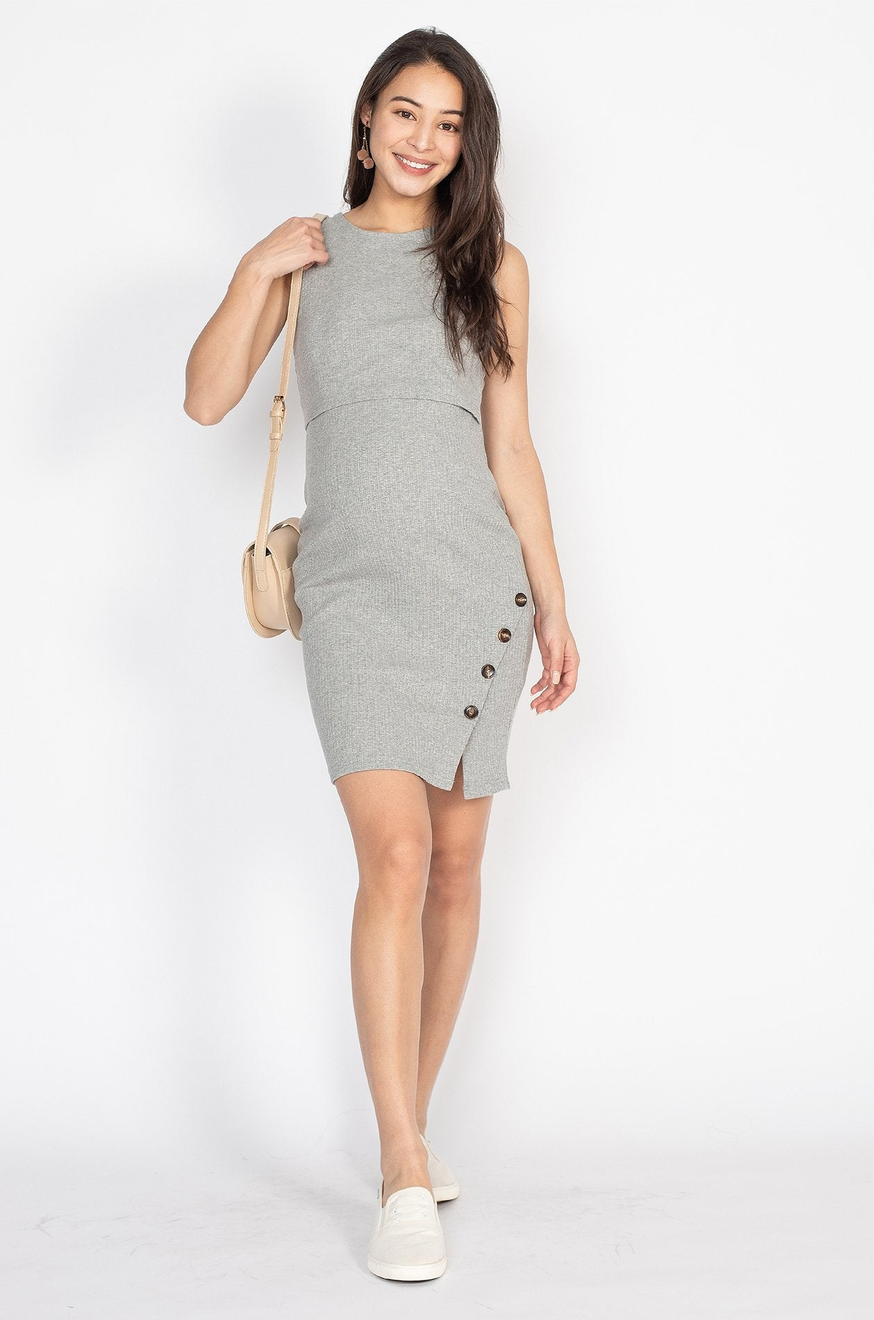 Alicia Side Button Body Con Nursing Dress in Grey  by Jump Eat Cry - Maternity and nursing wear
