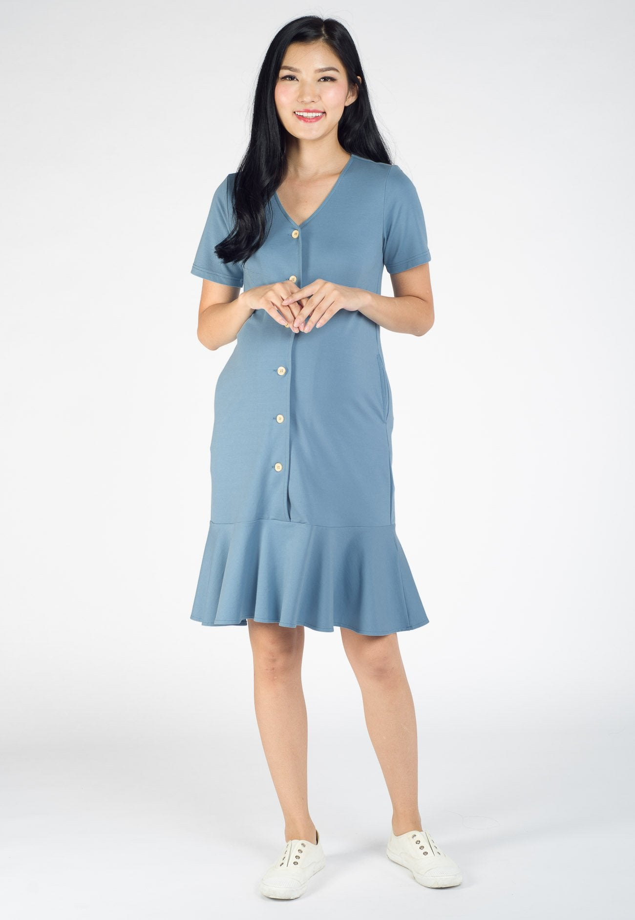 Adeline Fluted Hem Nursing Dress in Blue  by Jump Eat Cry - Maternity and nursing wear