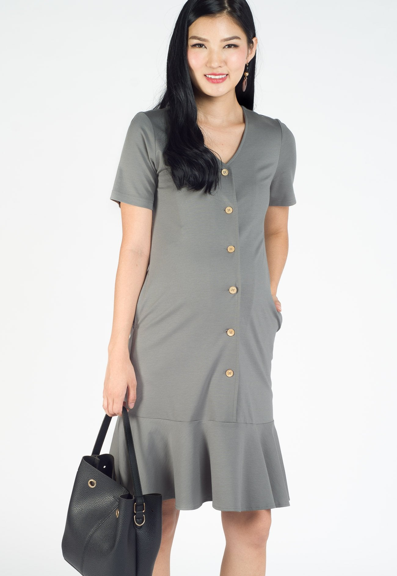 Adeline Fluted Hem Nursing Dress in Grey Nursing Wear Mothercot