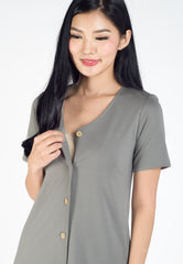 Adeline Fluted Hem Nursing Dress in Grey  by Jump Eat Cry - Maternity and nursing wear