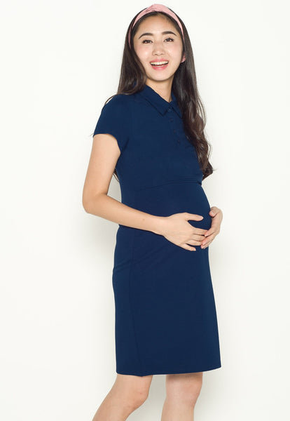 Akilah Collared Bodycon Nursing Dress in Blue