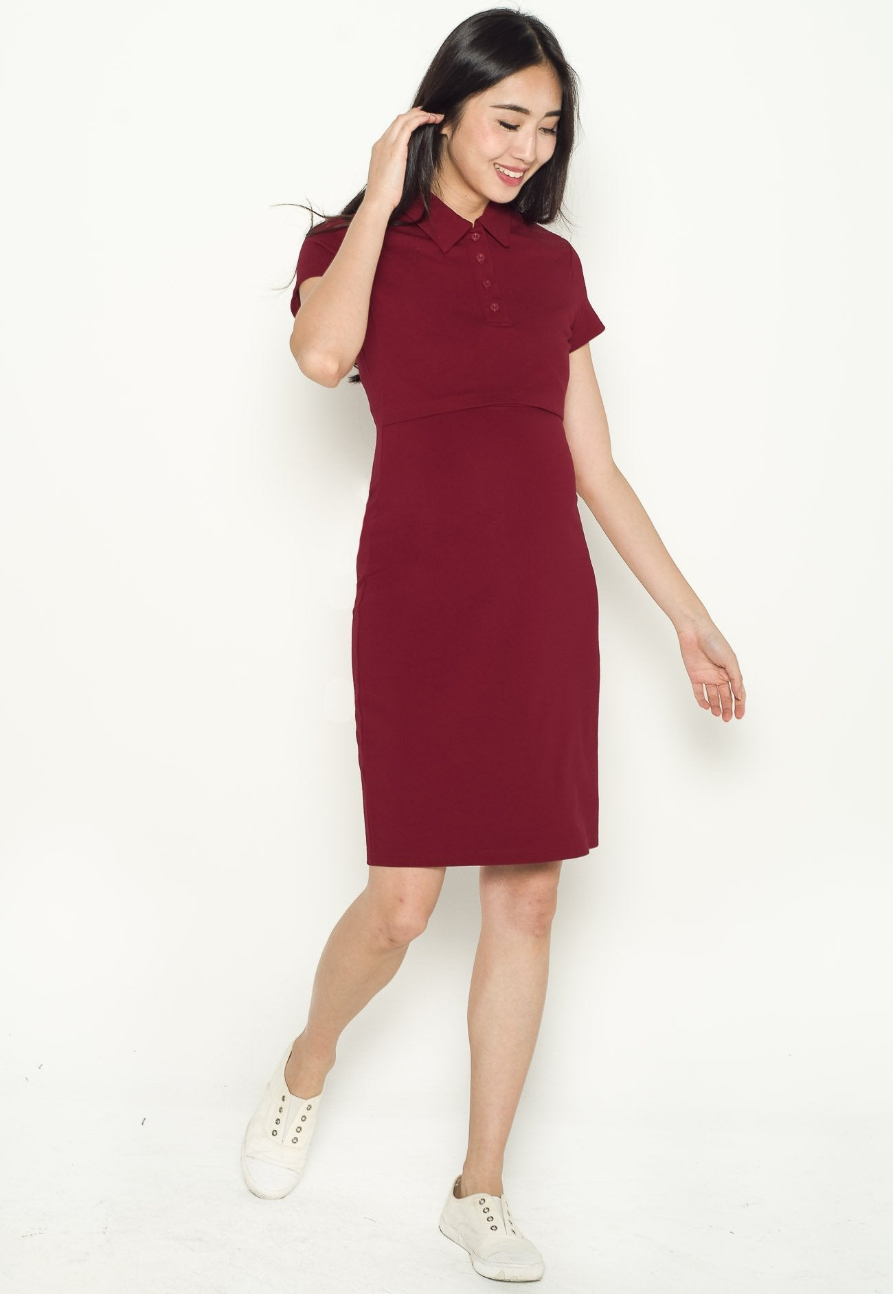 Akilah Collared Bodycon Nursing Dress in Red  by Jump Eat Cry - Maternity and nursing wear