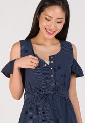 Alex Polka Dot Nursing Dress in Navy  by Jump Eat Cry - Maternity and nursing wear